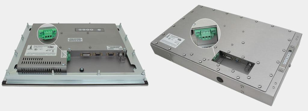 """Monitor de montaje en panel de 17"""" y de montaje universal de 23"""" con alimentación de CC mostrados"""