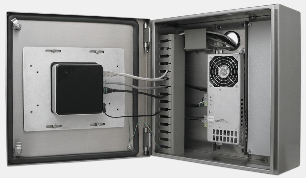 Intel NUC montado dentro de una carcasa de thin-client industrial de Hope
