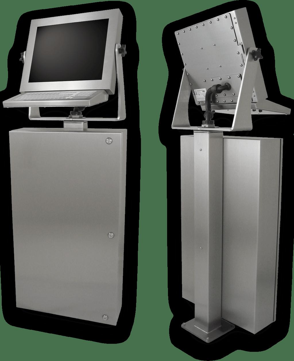 Estaciones de trabajo con pantallas táctiles industriales según IP65/IP66 para la planta de producción