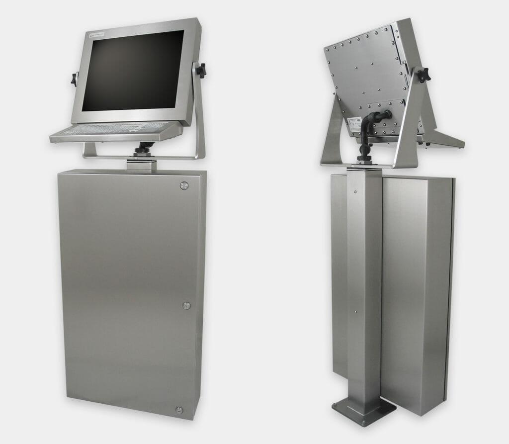 Carcasa industrial para PC comerciales/industriales, vistas frontal y trasera