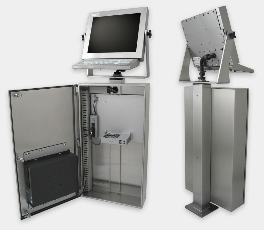 Carcasa industrial para PC comerciales/industriales con kit de ventilador genérico, vistas interior y trasera