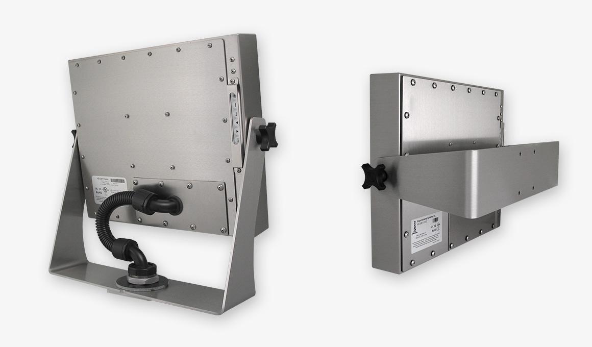 Monitores industriales de montaje universal y pantallas táctiles resistentes según IP65/IP66