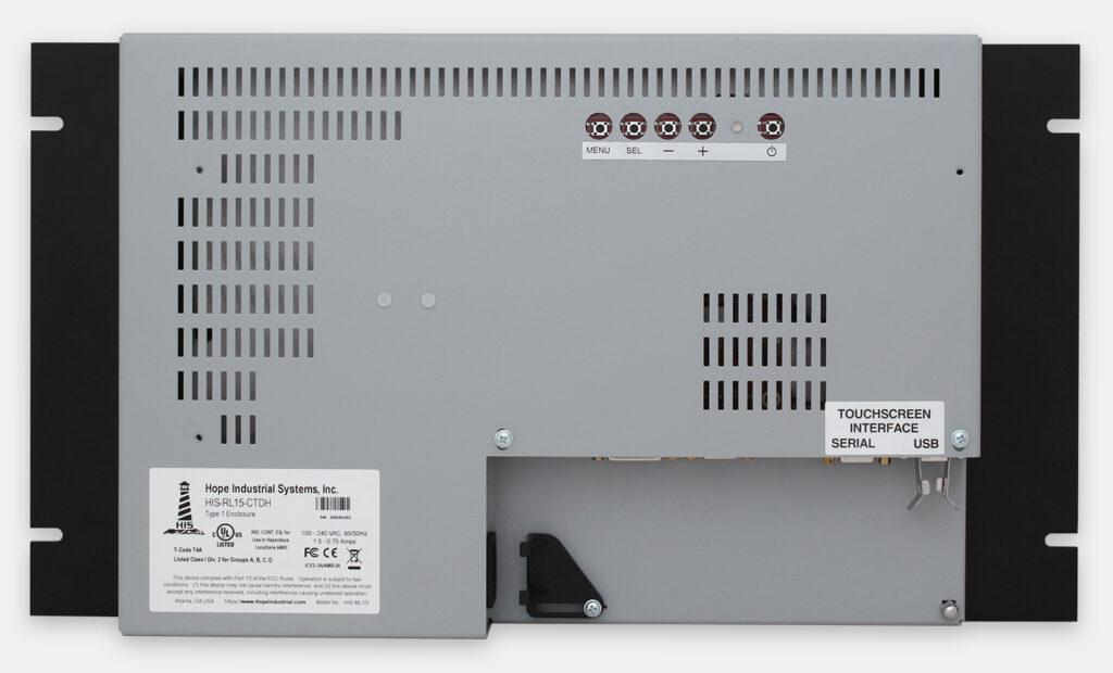 """Monitores industriales de montaje en bastidor y pantallas táctiles resistentes según IP20 de 15"""", vista trasera"""