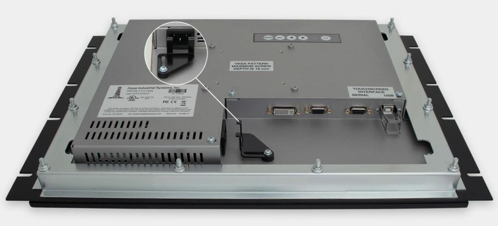 """Monitores industriales de montaje en bastidor y pantallas táctiles resistentes según IP20 de 17"""", vista de salida para cables de CA"""