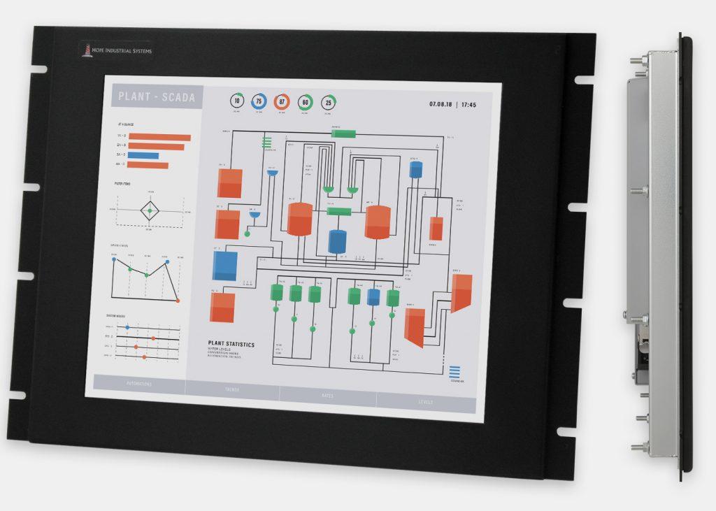 """Monitores industriales de montaje en bastidor y pantallas táctiles resistentes según IP20 de 17"""", vistas frontal y lateral"""