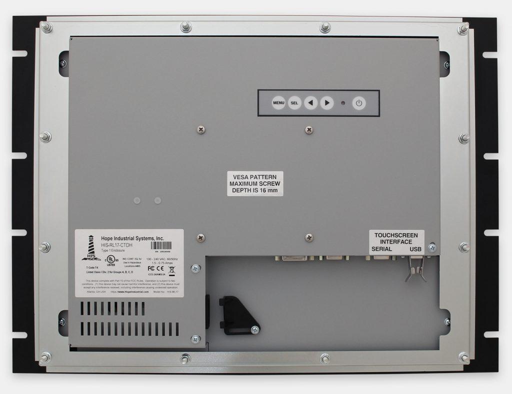 """Monitores industriales de montaje en bastidor y pantallas táctiles resistentes según IP20 de 17"""", vista trasera"""
