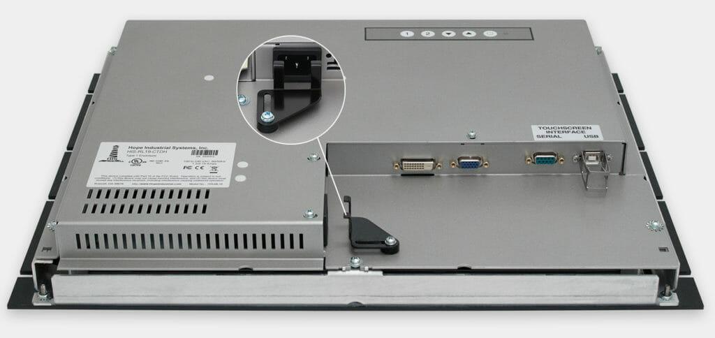 """Monitores industriales de montaje en bastidor y pantallas táctiles resistentes según IP20 de 19"""", vista de salida para cables de CA"""