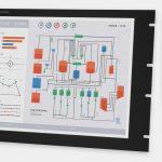 """Monitores industriales de montaje en bastidor y pantallas táctiles resistentes según IP20 de 19""""; vistas frontal y lateral"""
