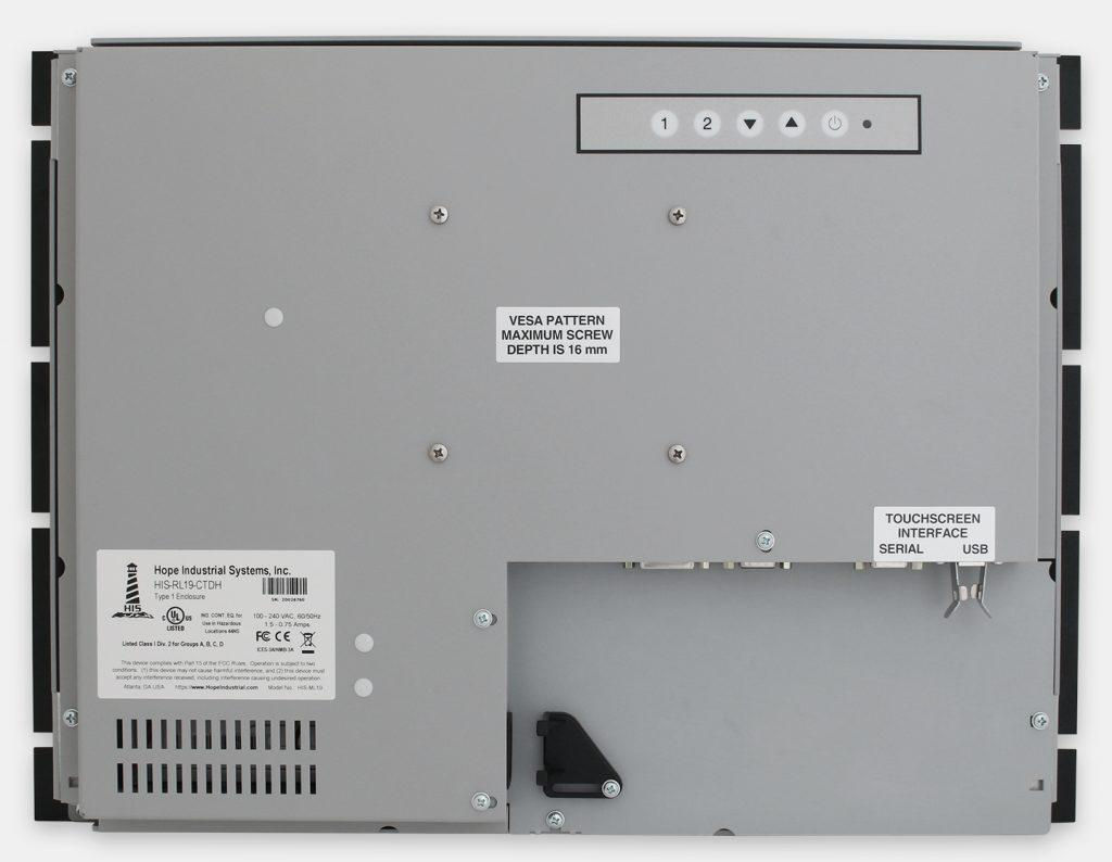"""Monitores industriales de montaje en bastidor y pantallas táctiles resistentes según IP20 de 19"""", vista trasera"""