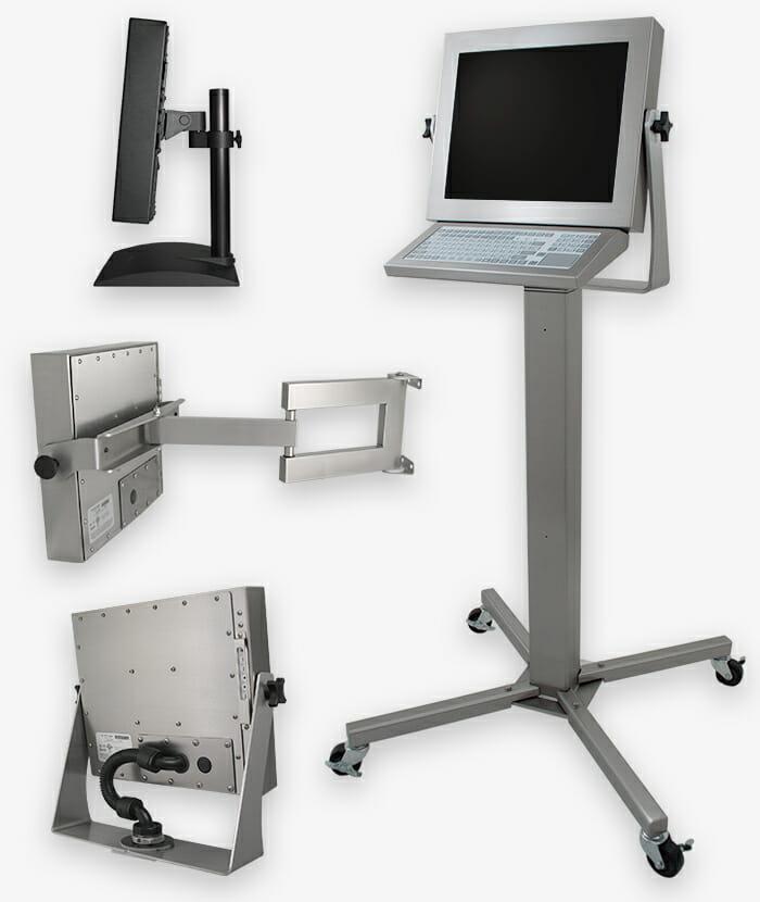 Opciones de montaje industrial para monitores de montaje universal