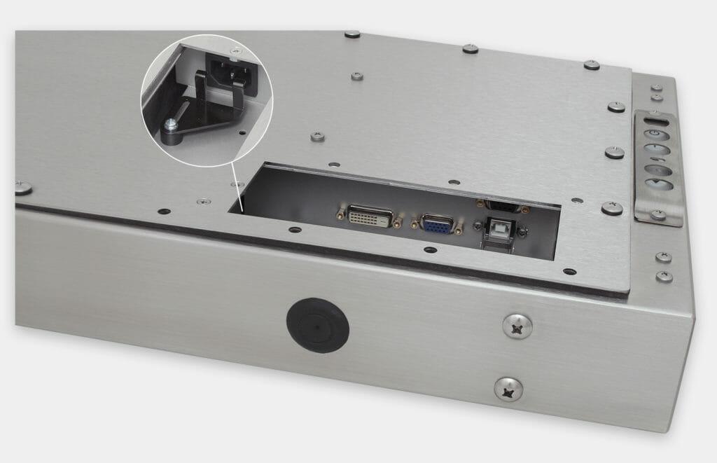 """Monitores industriales de montaje universal con pantalla panorámica y pantallas táctiles resistentes según IP65/IP66 de 19,5"""", vista de salida para cables de CA"""
