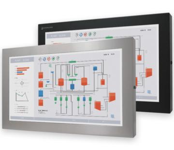 """Monitores industriales de montaje universal con pantalla panorámica y pantallas táctiles resistentes según IP65/IP66 de 23"""", pantallas completamente empotradas"""