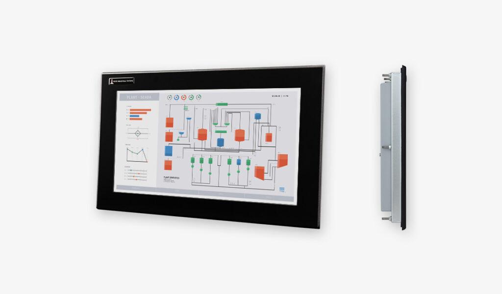 """Monitores industriales de montaje en panel y pantallas táctiles resistentes con pantalla panorámica de 19,5"""""""