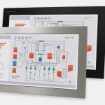 """Monitores industriales de montaje en panel con pantalla panorámica de 23"""" y pantallas táctiles resistentes según IP65/IP66, vistas frontal y lateral"""