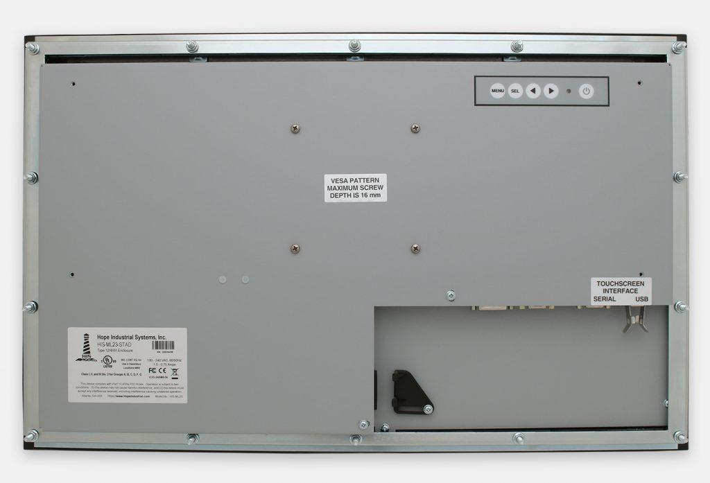 """Monitores industriales de montaje en panel con pantalla panorámica de 23"""" y pantallas táctiles resistentes según IP65/IP66, vista trasera"""