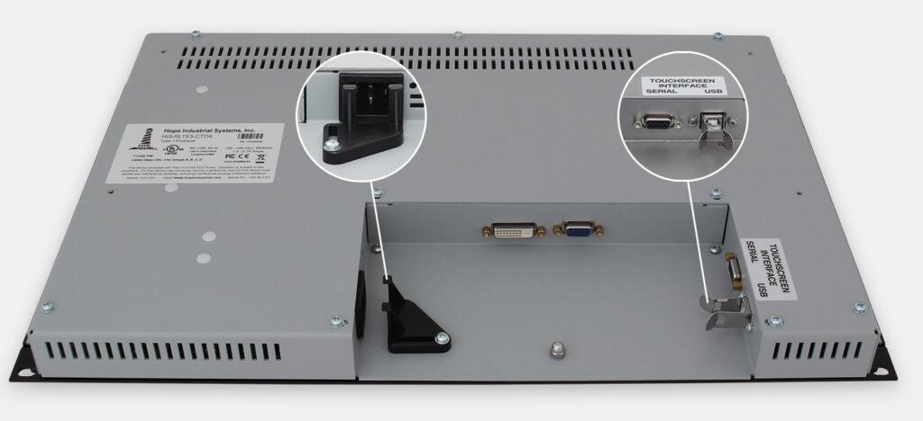 """Monitores industriales de montaje en bastidor con pantalla panorámica de 19,5"""" y pantallas táctiles resistentes según IP20, vista de salida para cables de CA"""
