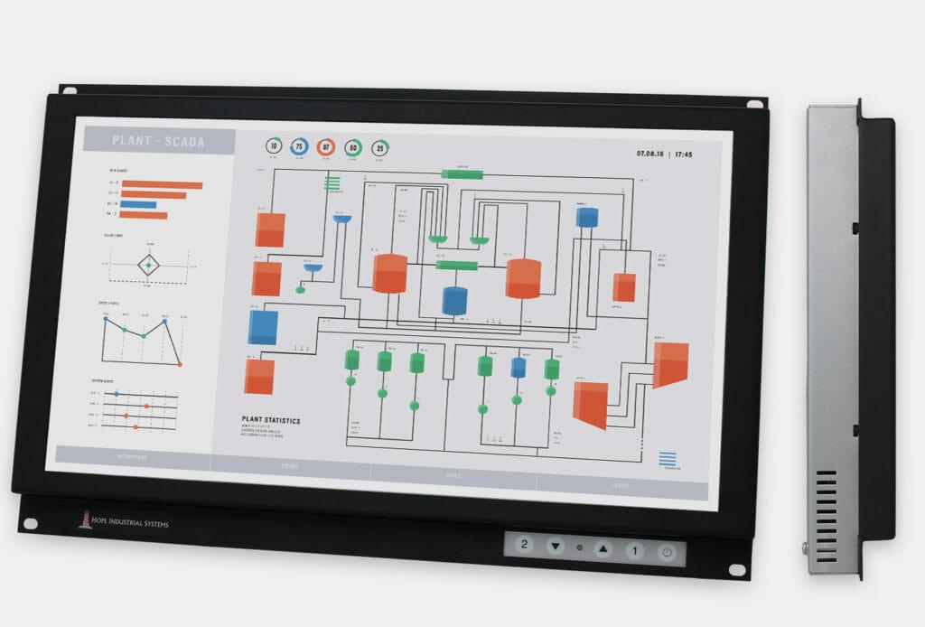 """Monitores industriales de montaje en bastidor con pantalla panorámica de 19,5"""" y pantallas táctiles resistentes según IP20, vistas frontal y lateral"""