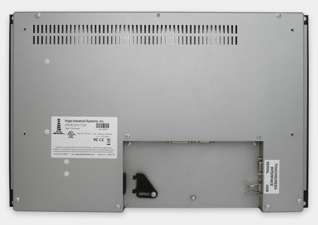 """Monitores industriales de montaje en bastidor con pantalla panorámica de 19,5"""" y pantallas táctiles resistentes según IP20, vista trasera"""