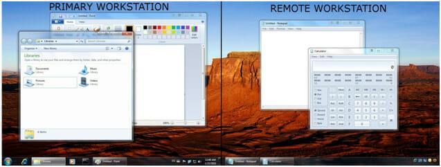 La barra de tareas inteligente aparece en el monitor remoto para un acceso práctico a las aplicaciones