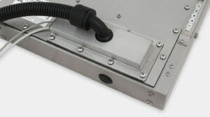 Opción de prensaestopas con placa de cubierta de salida para cables de conducto con clasificación IP65/IP66 para monitores industriales de montaje universal