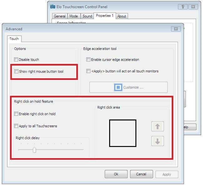 Propiedades avanzadas de Elo: ajustes de clic con el botón derecho del ratón