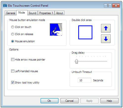 Panel de control de propiedades de Elo Touchscreen