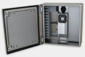 Carcasas industriales para thin-clients y PC pequeños, interior de la carcasa con fuente de alimentación y refrigeración