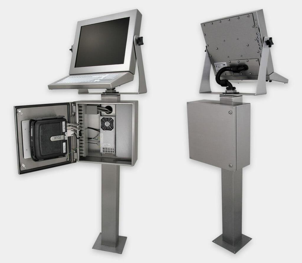 Carcasas industriales para thin-clients y PC pequeños, vistas frontal y trasera