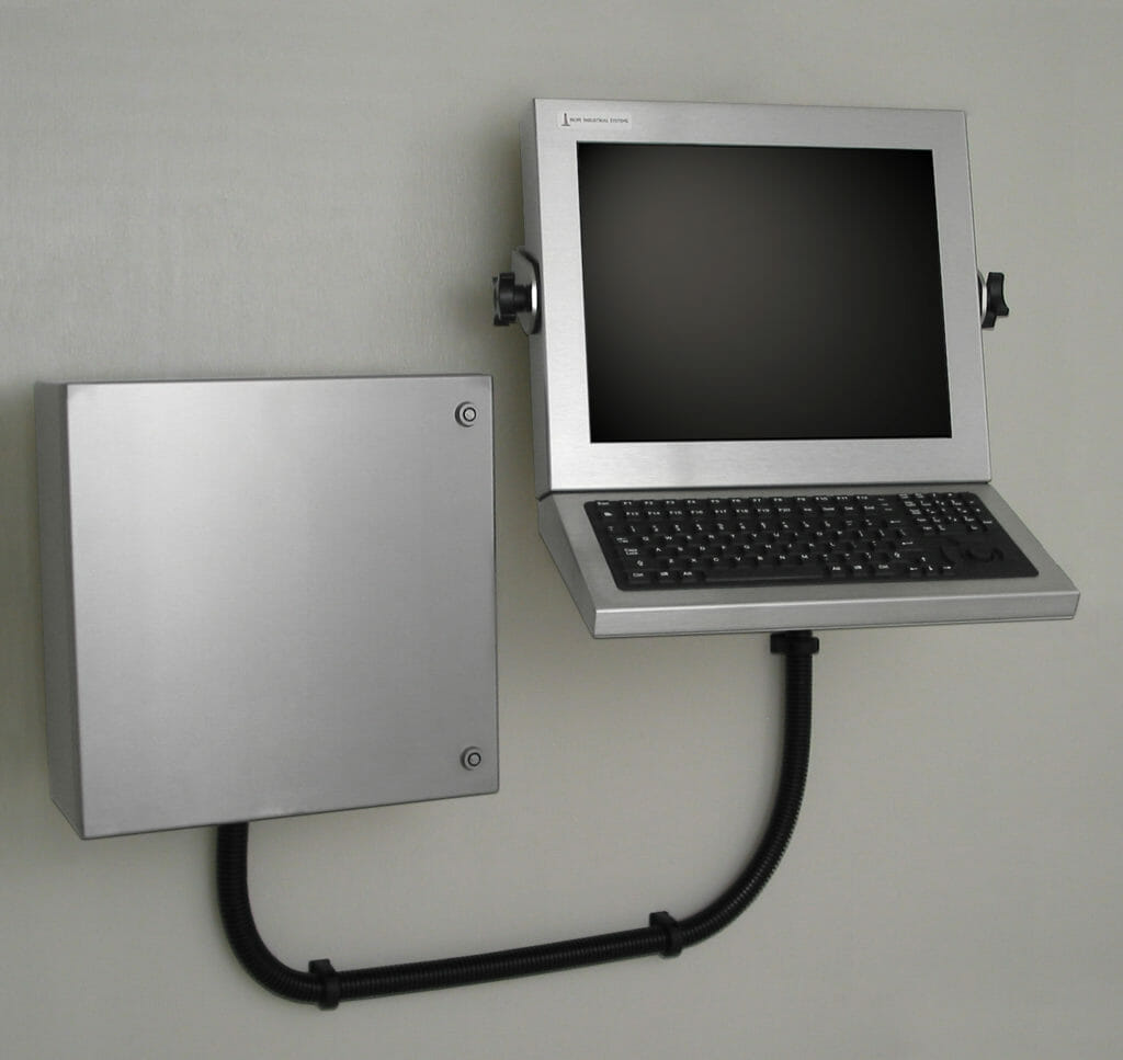 Estación de trabajo montada en pared con carcasa industrial para thin-clients y PC pequeños