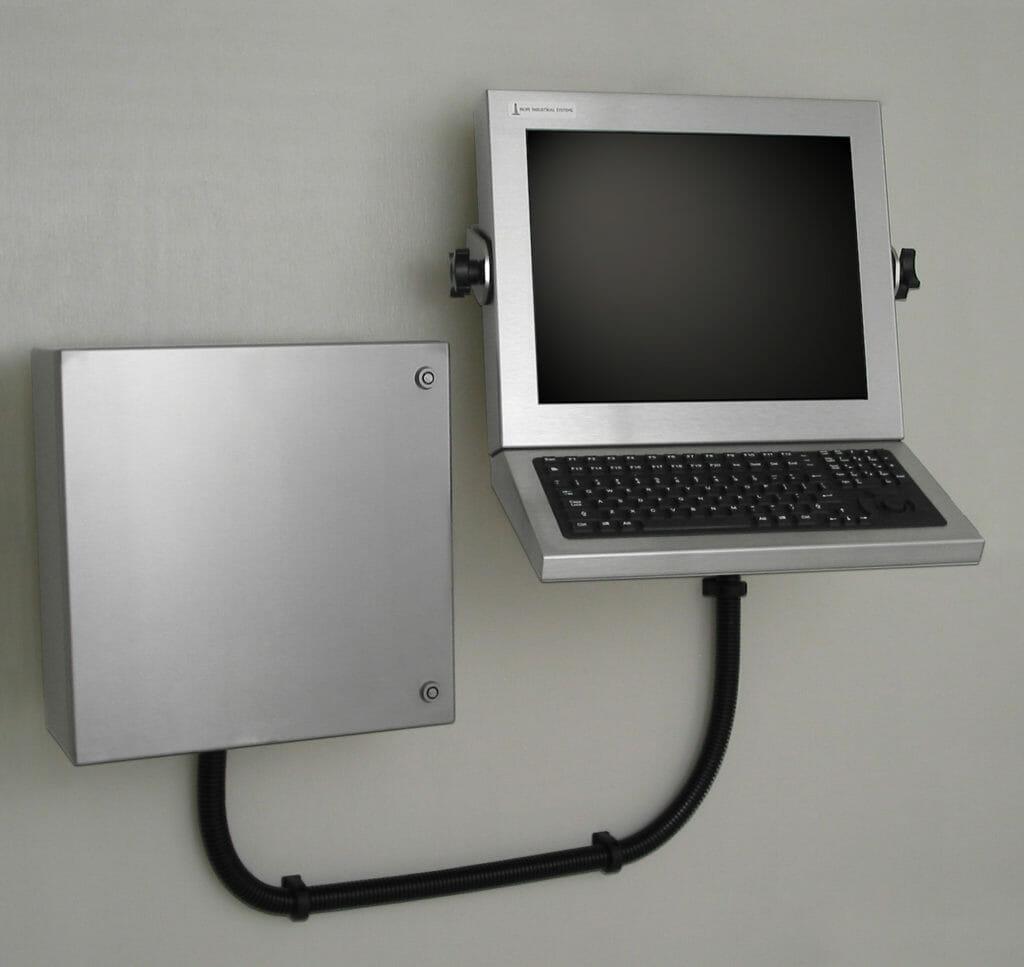 Estación de trabajo montada en pared con carcasa industrial para thin-clients y PC pequeños
