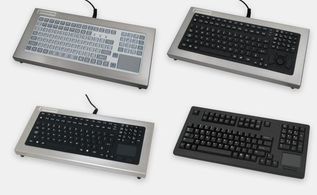 Opciones de teclados de sobremesa industriales con teclas de recorrido corto o completo y dispositivo de puntero integrado