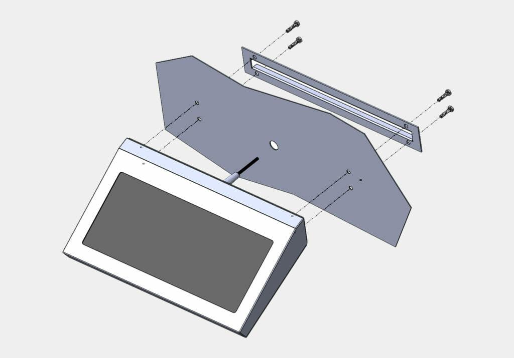 Diagrama de montaje para teclados de montaje en pared fijos industriales