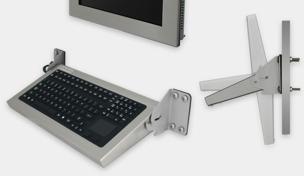 Teclados industriales de montaje en pared plegables con dispositivo de puntero, con clasificación IP65/IP66