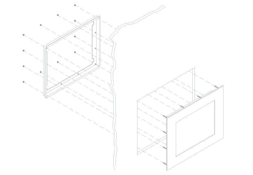 Diagrama de montaje de monitor de montaje en panel