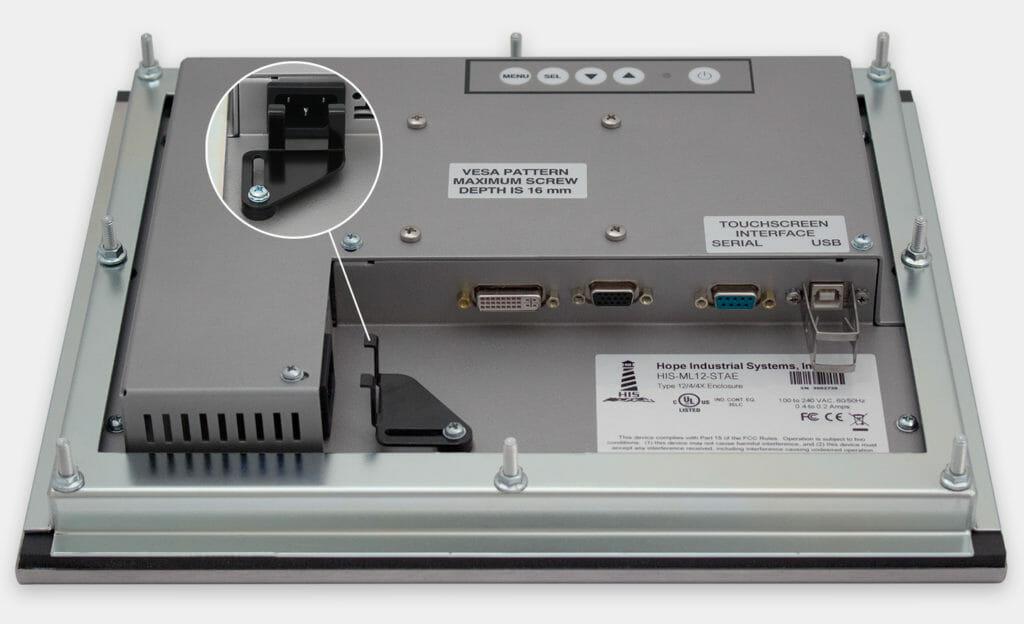 """Monitores industriales de montaje en panel y pantallas táctiles resistentes de 12"""" según IP65/IP66, vista de salida para cables de CA"""