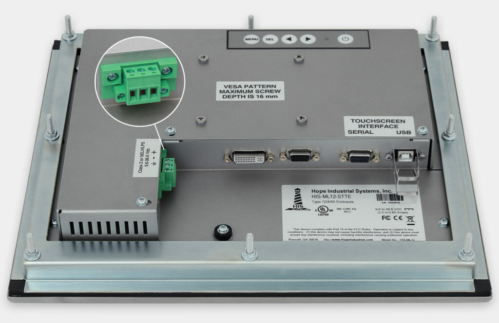 """Monitores industriales de montaje en panel y pantallas táctiles resistentes de 12"""" según IP65/IP66, vista de salida para cables de CC"""