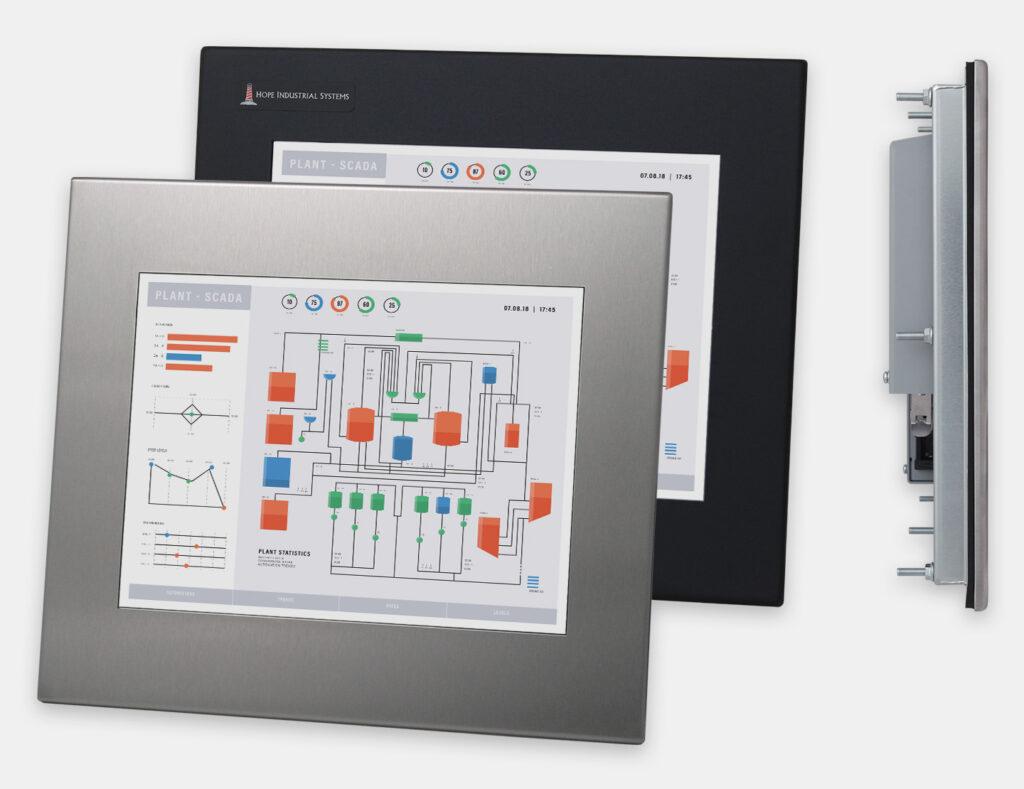 """Monitores industriales de montaje en panel y pantallas táctiles resistentes de 12"""" según IP65/IP66, vistas frontal y lateral"""
