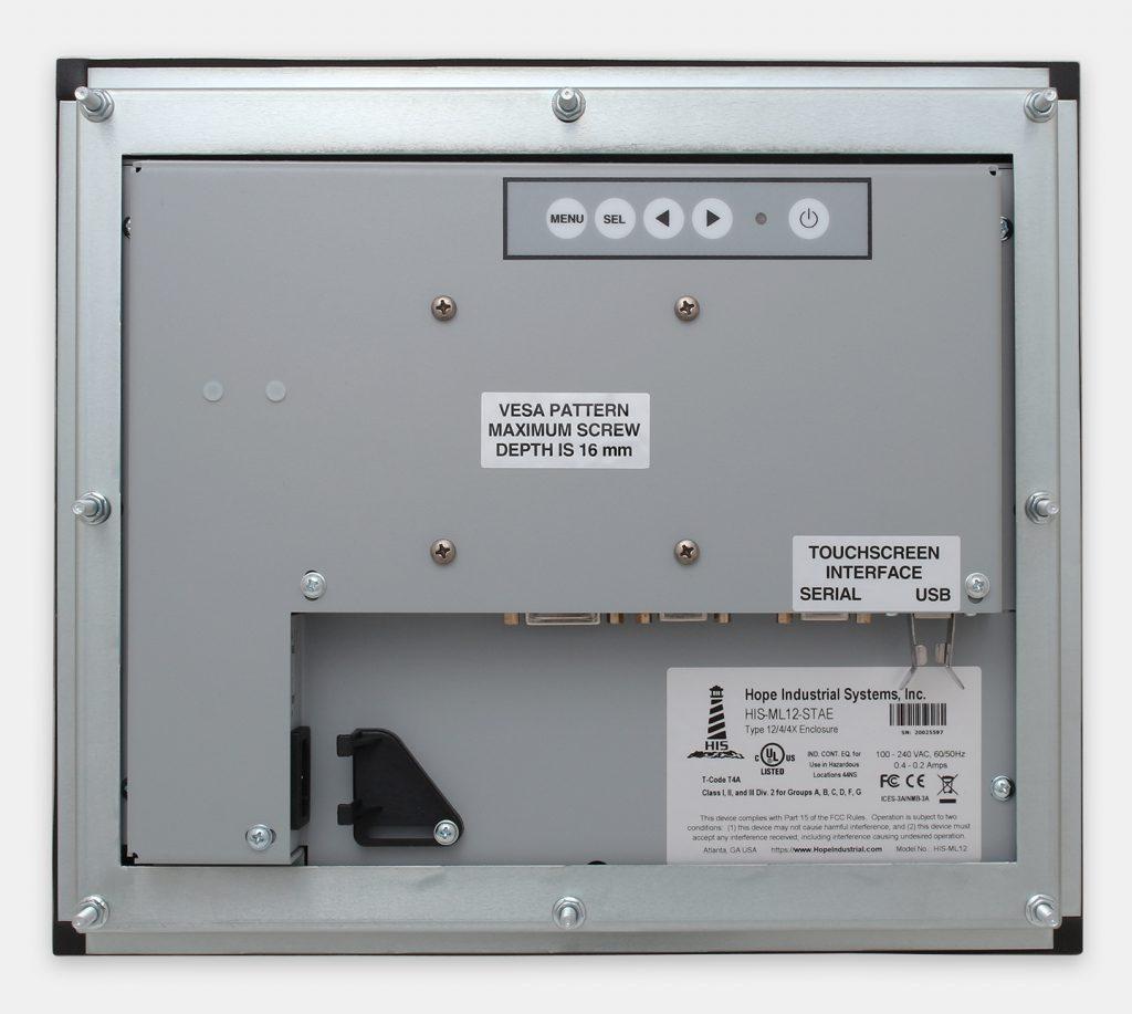"""Monitores industriales de montaje en panel y pantallas táctiles resistentes de 12"""" según IP65/IP66, vista trasera"""