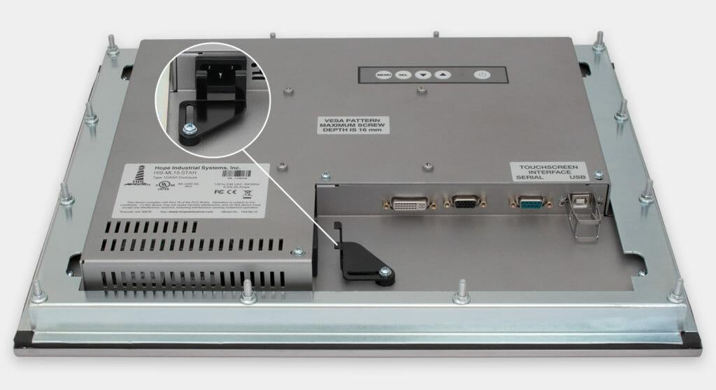 """Monitores industriales de montaje en panel y pantallas táctiles resistentes de 15"""" según IP65/IP66, vista de salida para cables de CA"""