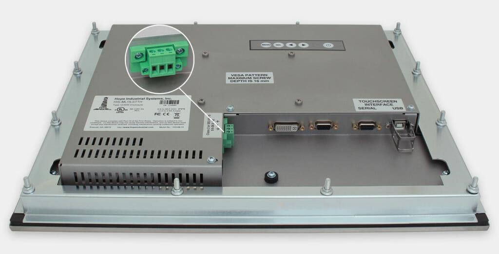 """Monitores industriales de montaje en panel y pantallas táctiles resistentes de 15"""" según IP65/IP66, vista de salida para cables de CC"""