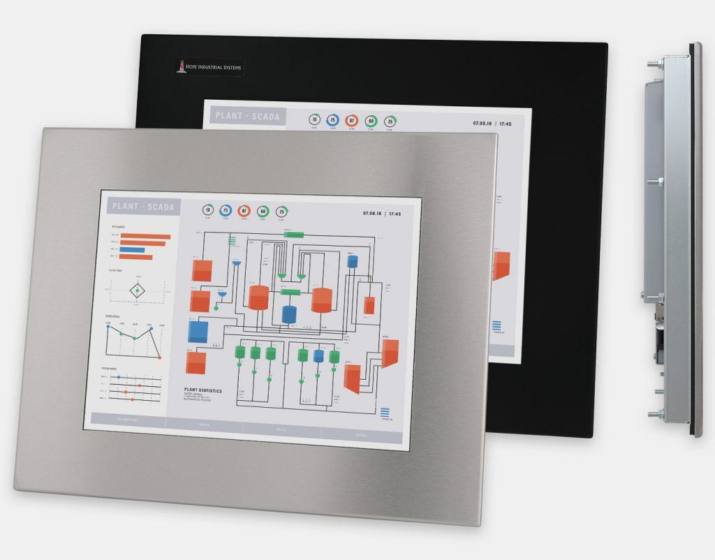 """Monitores industriales de montaje en panel y pantallas táctiles resistentes de 15"""" según IP65/IP66, vistas frontal y lateral"""