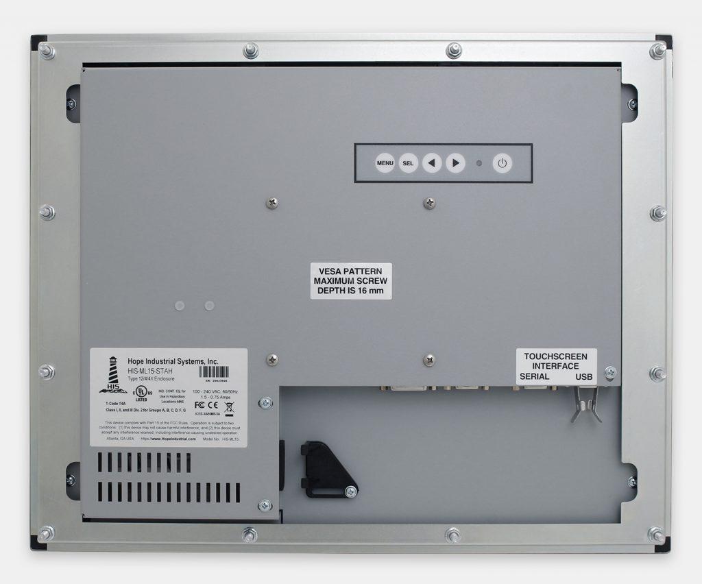 """Monitores industriales de montaje en panel y pantallas táctiles resistentes de 15"""" según IP65/IP66, vista trasera"""