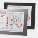 """Monitores industriales de montaje en panel y pantallas táctiles resistentes de 17"""" según IP65/IP66, vistas frontal y lateral"""