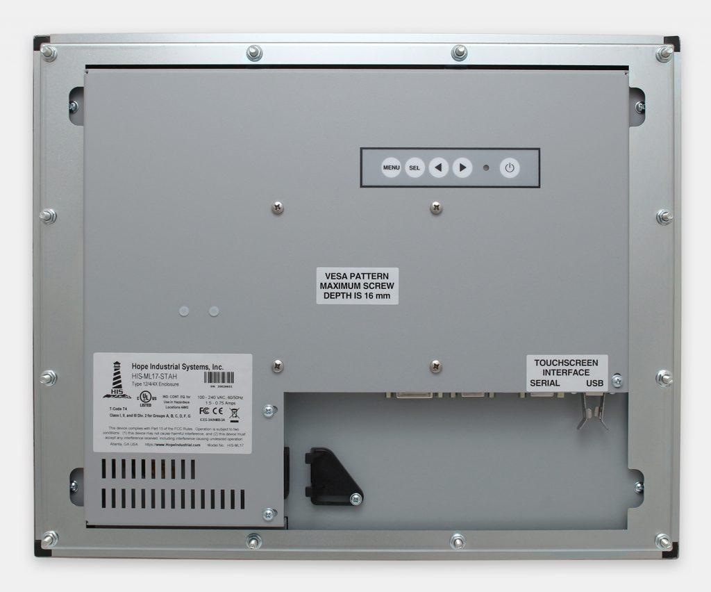 """Monitores industriales de montaje en panel y pantallas táctiles resistentes de 17"""" según IP65/IP66, vista trasera"""