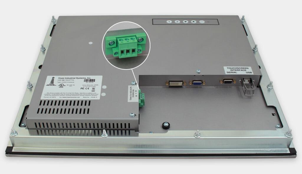 """Monitores industriales de montaje en panel y pantallas táctiles resistentes de 19"""" según IP65/IP66, vista de salida para cables de CC"""