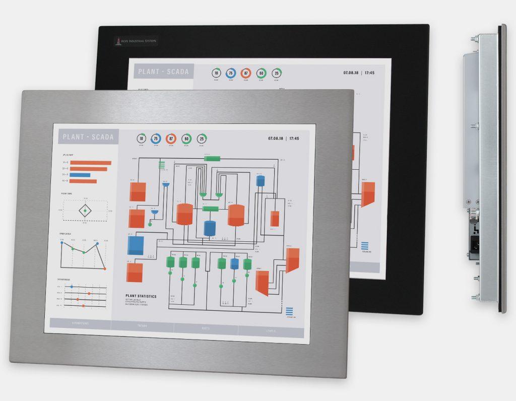 """Monitores industriales de montaje en panel y pantallas táctiles resistentes de 19"""" según IP65/IP66, vistas frontal y lateral"""