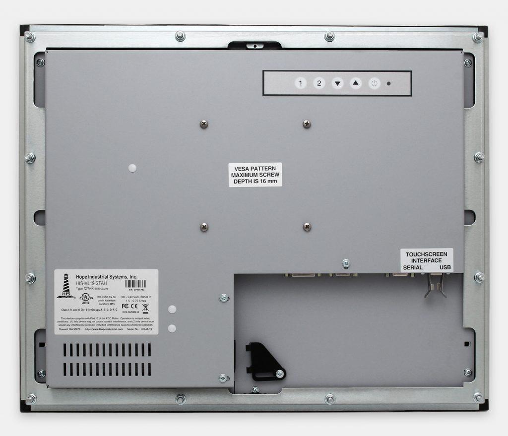 """Monitores industriales de montaje en panel y pantallas táctiles resistentes de 19"""" según IP65/IP66, vista trasera"""