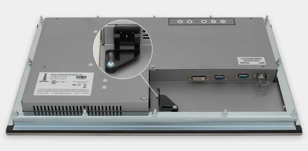 """Monitores industriales de montaje en panel con pantalla panorámica de 19,5"""" y pantallas táctiles resistentes según IP65/IP66, vista de salida para cables de CA"""