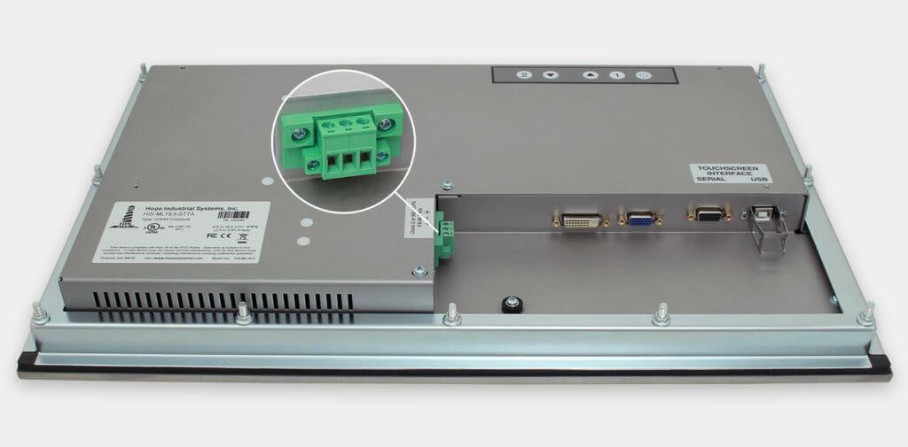"""Monitores industriales de montaje en panel con pantalla panorámica de 19,5"""" y pantallas táctiles resistentes según IP65/IP66, vista de salida para cables de CC"""