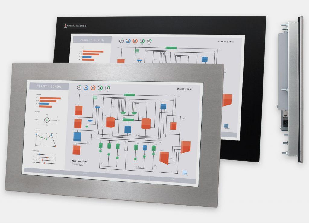 """Monitores industriales de montaje en panel con pantalla panorámica de 19,5"""" y pantallas táctiles resistentes según IP65/IP66, vistas frontal y lateral"""